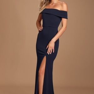 NWT Aveline Lulus Navy Off the Shoulder Dress